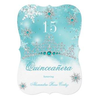 Teal Blue Pearl Snowflake 15 Birthday