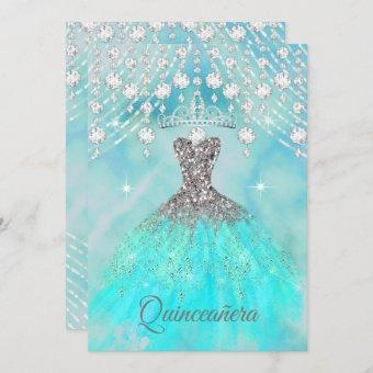 Teal Blue Silver 15th Birthday Party
