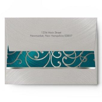 Teal Blue Silver Filigree Swirls Envelope