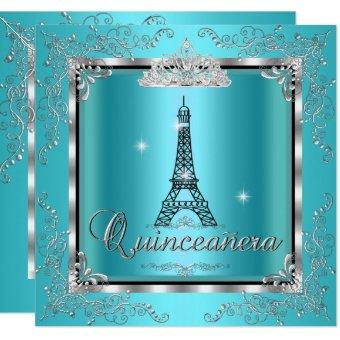 Quinceanera Teal Blue Silver Tiara Eiffel Tower 3 Invitation