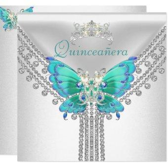 Quinceañera Teal Blue White Butterfly Diamond 2