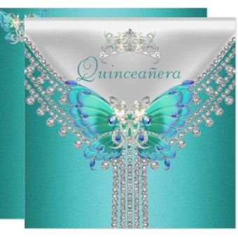 Quinceañera Teal Blue White Butterfly Diamond