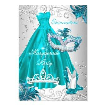 Quinceanera Teal Mask Silver Dress Masquerade Blue Invitations