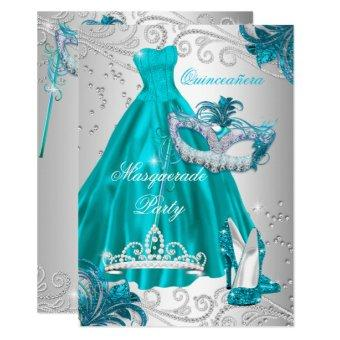 Teal Mask Silver Dress Masquerade Blue