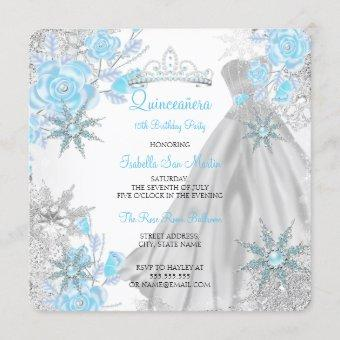 Teal Rose Winter Wonderland Snowflake