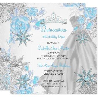 Teal Rose Winter Wonderland Snowflake