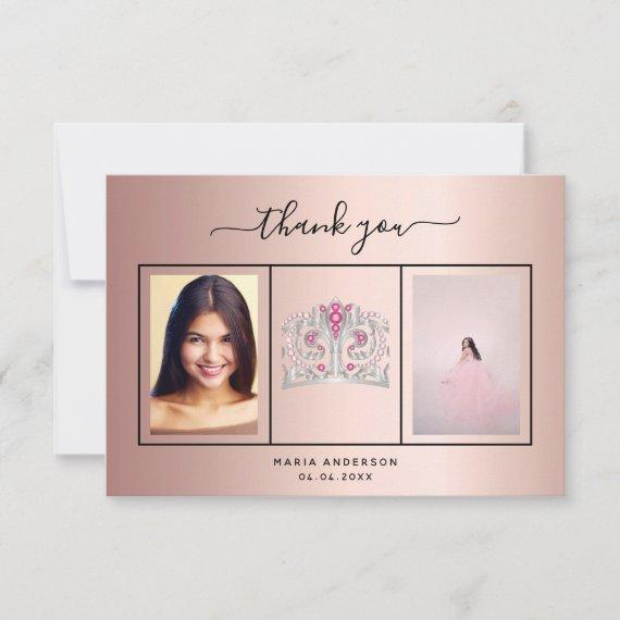 thank you custom photo rose gold glam