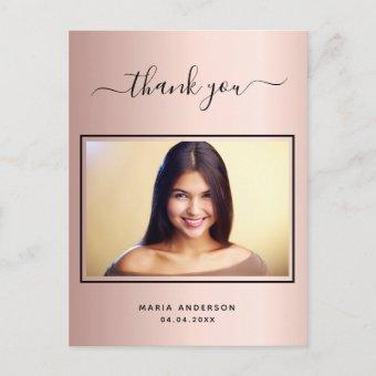 thank you custom photo rose gold post