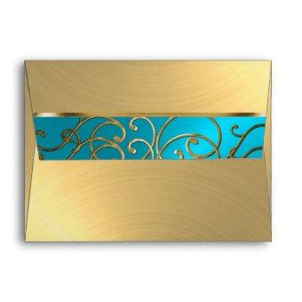 Turquoise Blue and Gold Filigree Swirl Envelope