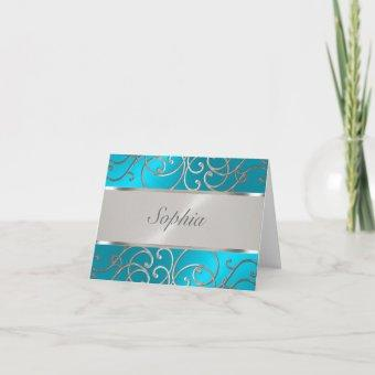 Turquoise Blue Silver Filigree Swirls
