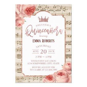 Vintage Rose Floral Music Birthday