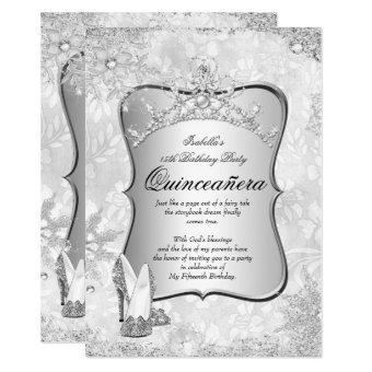 Quinceanera Winter Wonderland Silver Snowflake 2 Invitation