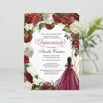 with elegant gown and burgundy florals