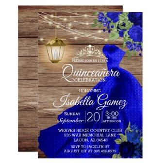 Quinceañera Wood and Dark Blue Flowers