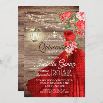 Quinceañera Wood and Red Flowers