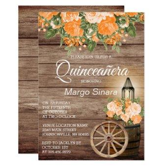 Quinceañera Wood Barrel and Orange Flowers