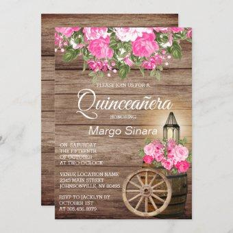 Quinceañera Wood Barrel and Pink Flowers