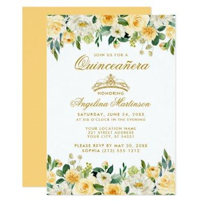 Yellow Gold White Floral Crown Invite