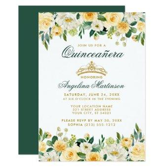 Yellow Green Floral Gold Crown Invite