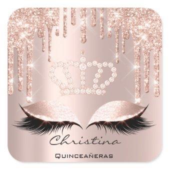 Quinceañeras Sweet 16th 15th Bridal Spark Crown Square Sticker
