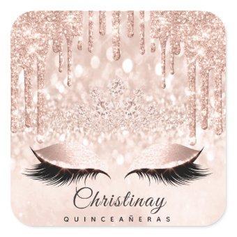 Quinceañeras Sweet 16th 15th Bridal Spark Princess Square Sticker