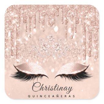 Quinceañeras Sweet 16th 15th Bridal Spark Skinny Square Sticker