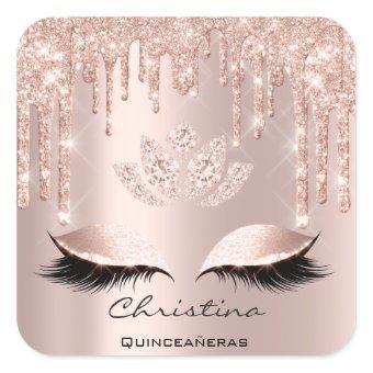 Quinceañeras Sweet 16th 15th Bridal Sparkly Diamod Square Sticker