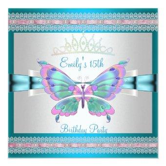 Quincenera 15th White Teal Blue Pink Butterfly
