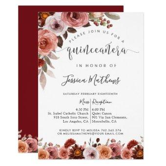 Quinceñera Burgundy and Blush Floral