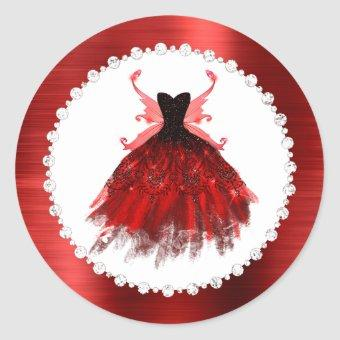 Radiant Fairy Party | Red Black Sparkle Wing Dress Classic Round Sticker