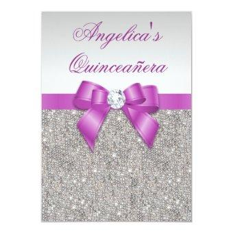 Radiant Orchid Quinceañera Silver Sequins Bow