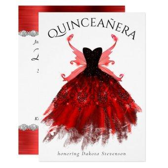 Radiant Red Luxury Gown Fairy Wings