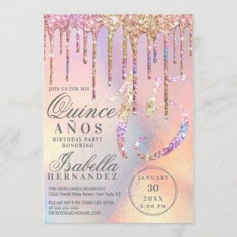 Rainbow Holographic Glitter Drips Quinceañera
