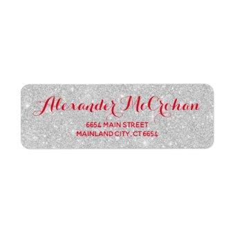 Red and Faux Silver Glitter Foil Return Address Label