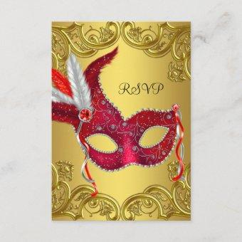 Red and Gold Masquerade Party RSVP