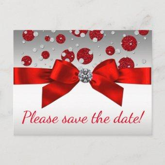Red and Silver Save The Date Post