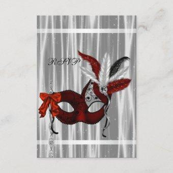 Red Black White Masquerade Party RSVP