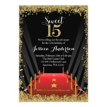 Red Carpet Hollywood Glitter Sweet 15 Quinceanera Invitations