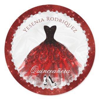 Red Diamond Sparkle Glam Quinceañera Classic Round Sticker