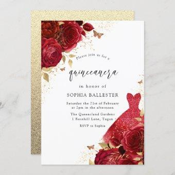 Red Dress & Roses Gold Glitter Party