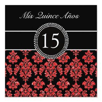 RED GLITTER EFFECT BLACK DAMASK