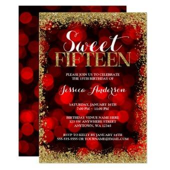 Red Gold Faux Glitter Lights Sweet 15