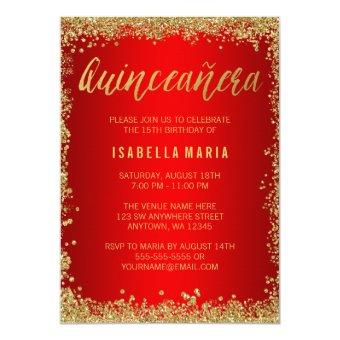 Red Gold Faux Glitter Quinceanera 15th Birthday Invitation