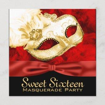 Red Gold Feather Sweet 16 Masquerade Party