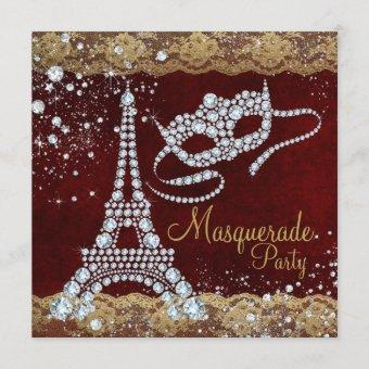 Red Gold Paris Masquerade Party