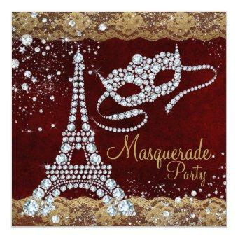 Red Gold Paris Masquerade Party