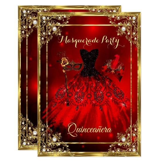 Red Gold Dress Masquerade Party