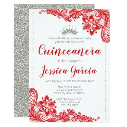 Red Lace and Silver Glitter Princess Quinceañera