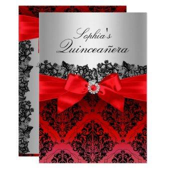 Red Lace Damask & Bow