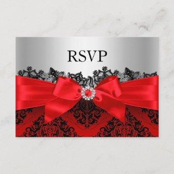 Red Lace Damask & Bow RSVP
